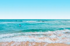 Jeju ö, Sydkorea - Augusti 18, 2015: Massor av entusiastiska surfare som simmar i havet - Jeju ö, Sydkorea Fotografering för Bildbyråer