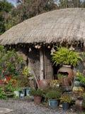 Jeju ö, Sydkorea Traditionellt hus Arkivfoton