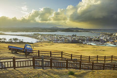 Jeju cityscape view from Seongsan Ilchulbong in South Korea.  Royalty Free Stock Image