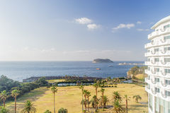 JEJU, COREIA - 12 DE NOVEMBRO DE 2012: Vista do hotel de KAL Fotografia de Stock Royalty Free