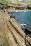 Jeju-Do, Corée - 11 avril 2015 : Vue de la côte de Yongmeori dedans Photos stock