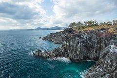 Jeju do Island kust Jusangjeollidae, Zuid-Korea Stock Fotografie