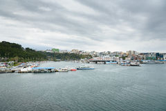 Jeju-do, Korea - April 12, 2015: whole view of Seogwipo port Royalty Free Stock Images