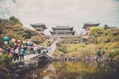 Jeju Island, KOREA - OCTOBER 12: Yakcheonsa Temple is the bigges Stock Images