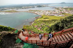 Jeju Island - 5 October 2014: High angle view from top Jeju Volcanic,South Korea. Stock Photography