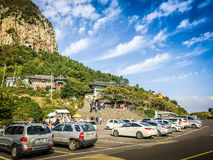 Jejueiland, KOREA - NOVEMBER 12: Toerist bezochte Sanbanggul Royalty-vrije Stock Foto's