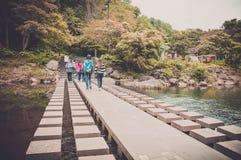 Jejueiland, KOREA - OKTOBER 12: De Beroemde Chunjeyun-waterval Royalty-vrije Stock Foto