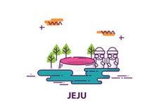 Jejueiland in Zuid-Korea met het ontwerp van de lijnkunst Royalty-vrije Stock Afbeeldingen