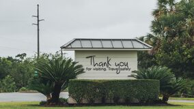JEKYLL ISLAND, GEORGIA - SEPT 18, 2019:  Jekyll Island Visitors Center Thank you for visiting sign