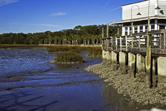 Jekyll Island Wharf Marina at low tide Stock Images