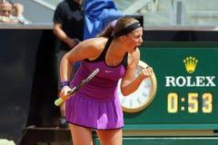 Jelena Ostapenko (LAT). ROME, ITALY - MAY 12, 2016: Jelena Ostapenko (LAT) during her match against Garbine Muguruza (ESP) at the Internazionali BNL d'Italia in stock photos
