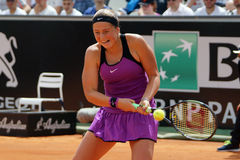 Jelena Ostapenko (LAT). ROME, ITALY - MAY 12, 2016: Jelena Ostapenko (LAT) during her match against Garbine Muguruza (ESP) at the Internazionali BNL d'Italia in royalty free stock images