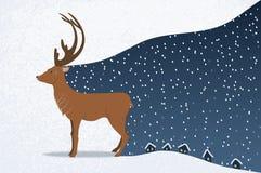 Jeleni dowodzony opad śniegu ilustracji