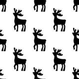 jeleni rysujący ręki ilustraci wektor Jelenia czarna sylwetki ikona na białym tle Bezszwowy rogacza wzór royalty ilustracja