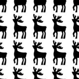 jeleni rysujący ręki ilustraci wektor Jelenia czarna sylwetki ikona na białym tle Bezszwowy rogacza wzór ilustracja wektor
