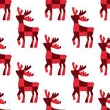 jeleni rysujący ręki ilustraci wektor Jelenia czerwona sześcianu wzoru sylwetki ikona na białym tle Bezszwowy rogacza wzór Boże N ilustracji