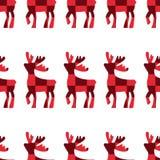 jeleni rysujący ręki ilustraci wektor Jelenia czerwona sześcianu wzoru sylwetki ikona na białym tle Bezszwowy rogacza wzór Boże N ilustracja wektor