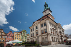 Jelenia Gora. (German: Hirschberg) is a city in Lower Silesia, south-western Poland, market square and city hall royalty free stock images