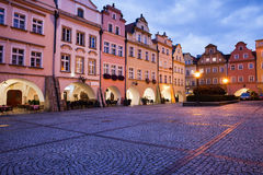 Jelenia Gora Old Town Square at Dusk in Poland Stock Photo