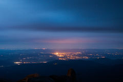 Jelenia Gora seen from above at night. Poland Stock Photography