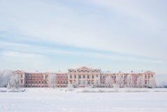 Jelgava palace in winter. Snowy Jelgava palace, designed by architect Bartolomeo Francesco Rastrelli Stock Photos