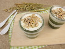 Jelled green smoothie with matcha, yogurt and muesli Stock Photography