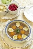 Jellied with beef tongue, carrot and quail eggs Royalty Free Stock Photo