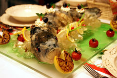 Jellied fish. On a decorative plate Stock Photo
