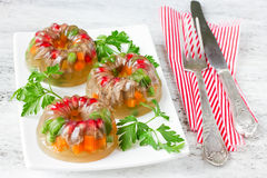 Jellied meat, aspic, galantine with vegetables and parsley Royalty Free Stock Images