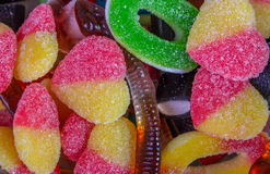 Jellies candie. Colorful candies and jellies as background Stock Photos