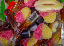 Jellies candie. Colorful candies and jellies as background Stock Image