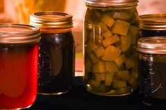 Jellies and Pickles Canning Jars Royalty Free Stock Photos