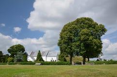 Meadow near the church in Jelling stock photo
