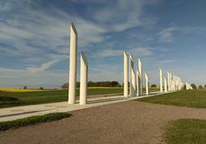 Jelling in Denmark. Palisade at Viking burial mounds in Jelling stock image