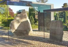 Jellinge Stones, Denmark. JELLING, DENMARK – Harald Bluetooth's big Rune Stone and King Gorm's small Rune Stone. The Jelling Monuments are a UNESCO World stock photography
