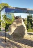 Jellinge Stones, Denmark. JELLING, DENMARK – Harald Bluetooth's big Rune Stone and King Gorm's small Rune Stone. The Jelling Monuments are a UNESCO World stock image