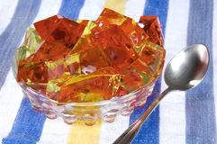 Jello cubes. Photo of jello cubes on the table Royalty Free Stock Images