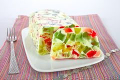 Jello dessert. Homemade broken glass jello dessert Royalty Free Stock Image