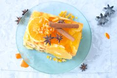 Jello fruit cake. Dessert with banana, apple and orange slices Stock Photography
