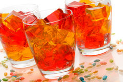 Jello In Glassed. Cubes of straberry and orange jello in glasses Stock Photos