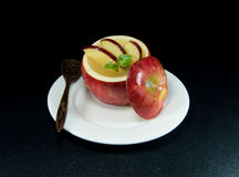 Jelly add in apple decorate with a slice of apple. Royalty Free Stock Photography