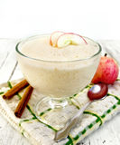 Jelly airy apple in glass bowl on board Stock Images