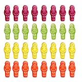 Jelly babies. Multi colored jelly babies on white Stock Images