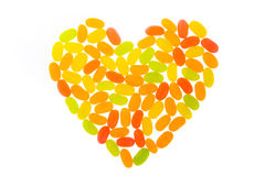 Jelly Bean arrange to be heart Royalty Free Stock Image