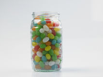 Jelly bean. S in a glass jar Stock Photo