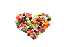 Jelly Bean Heart. A heart shape made out of jelly beans on a isolated background Stock Images