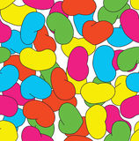 Jelly Bean Repeating Tile. Repeating tile with pink, yellow, orange, green and blue jelly beans on white background Royalty Free Stock Photo