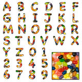 Jelly Bean sweet alphabet Stock Image