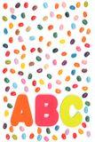 Jelly bean sweets and ABC letters royalty free stock image
