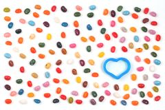 Jelly bean sweets wiyh heart and butterfly stock images
